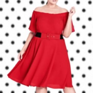 CITY CHIC RED LADY VALARIE OFF-SHOULDER DRESS NWT